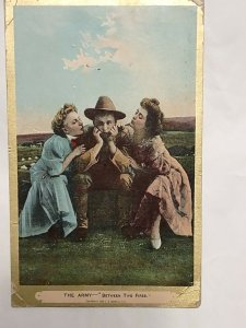 Postcard Army Between Two Fires 1909 Military Typed Message Ontario Canada 1046