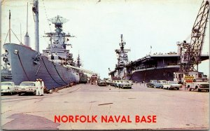 US Navy Norfolk Naval Base, World's Largest Naval Base, VA, Old Postcard