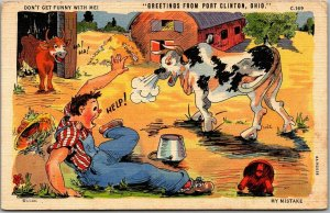 1943 RAY WALTERS Comic Postcard Greetings from Port Clinton Ohio #C-169 Linen