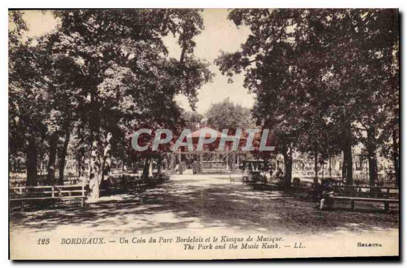 Vintage Postcard Bordeaux a Corner of the Park Of Bordeaux and the Kiosk of Mus