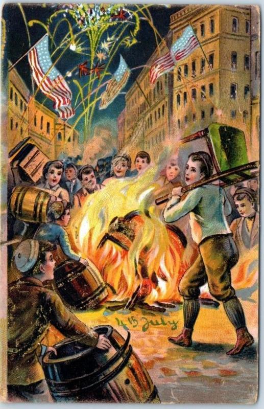 Fourth of July 4th Postcard Street Scene Bonfire Boys Fireworks U.S. Flags 1909