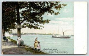 Port Huron Michigan~St Clair River @ Park~Folk-Baby Carriage Watch Ship~c1910