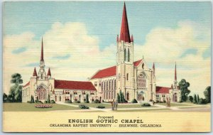 Shawnee, OK Postcard ENGLISH GOTHIC CHAPEL Oklahoma Baptist University - Linen