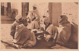 Arabs Playing Dominoes Gambling Arabian Toy Board Old Dice Game Antique Postcard
