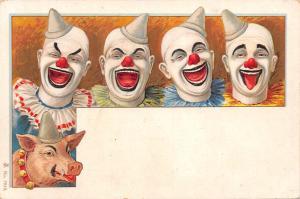 Fantastic set of 3 clowns postcards Circus Cirque fine quality France
