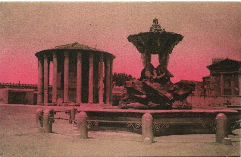 italy, ROMA ROME, Tempio de Vesta, Fontana Paola (1910s) Postcard