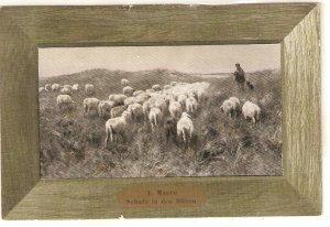 A.Mauve. Shepherd with flock Fine painting, vintage German postcard