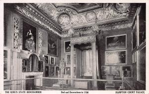 The King's Bedchamber, Hampton Court Palace, England, early postcard, unused