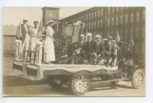 Dover NH Mill Machine Parade Truck Signed G. P. Silver RPPC Real Photo Postcard