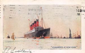 Written on card, Lusitania Oceanliner Ship Cunard Line Ship Steamer 1911 ligh...