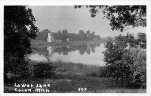 H35/ Colon Michigan RPPC Postcard c1930s Lower Lake Scene Railroad Depot  10
