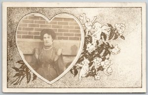 RPPC~Victorian Lady @ Brick Wall~Valentine Heart Portal~Cupid & Roses Mask~1906