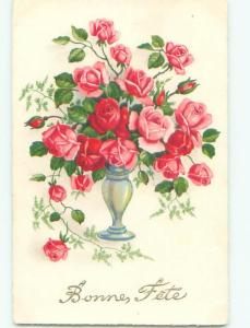 Very Old Foreign Postcard BEAUTIFUL FLOWERS SCENE AA4891