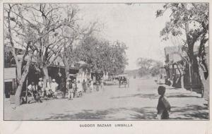 Sudder Bazaar Umballa Antique India Postcard