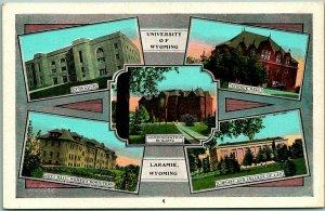 Vintage 1930s UNIVERSITY OF WYOMING Postcard 5 Building Views Laramie WY Unused