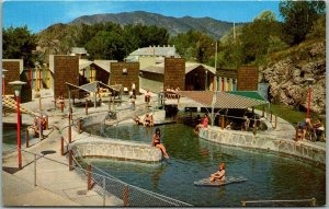 Lava Hot Springs, Idaho Postcard Swimming Pool Scene / Girls c1960s Unused