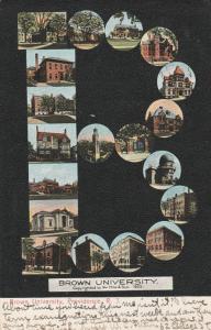 Brown University Providence RI Rhode Island - Letter B Multiview - pm 1908 - UDB
