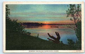 *1930s Midnight Sun Yukon River Alaska Canoe Boat Boating Vintage Postcard C11