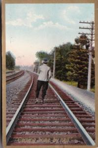 Humour Man Walking On Railroad Tracks Coming Home By Rail 1908