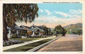 Arrowhead Avenue, San Bernardino, California, Early Postcard, Unused
