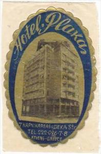 GREECE ATHENS HOTEL PLAKAS VINTAGE LUGGAGE LABEL