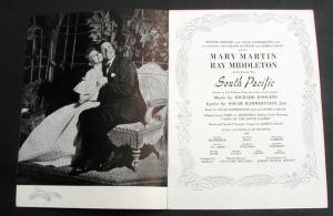 South Pacific 1950 Mary Martin Original Broadway Program