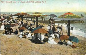 Asbury Park NJ~Seventh Avenue Beach~Fully Dressed People~Japanese Umbrellas~1907