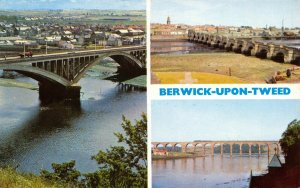 Vintage Northumberland Multi View Postcard, New Bridge, Old Bridge FM2