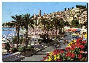 Postcard Modern Riviera Menton The Promenade beaches and old town