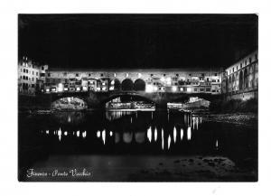 Italy Firenze Ponte Vecchio Florence Bridge at Night Glossy4 X6 Photo Postcard