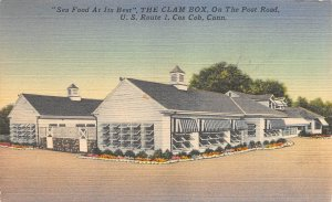 The Clam Box, Cos Cob, On The Post Rd.,Connecticut, Early Linen Postcard, Unused
