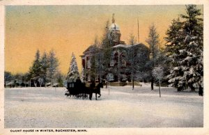 Rochester, Minnesota - Horse & buggy in front of the Court House in Winter
