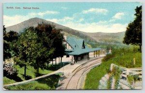 Norfolk Connecticut~Railroad Station~Train Tracks Curve Past Depot~c1910