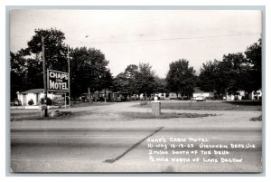 RPPC Chap's Cabin Motel Wisconsin Dells Wisconsin 1955 Old Cars pc1843