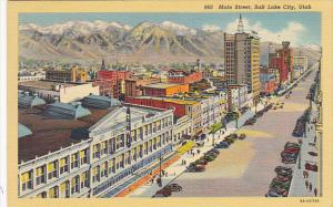 Utah Salt Lake City Main Street 1940 Curteich