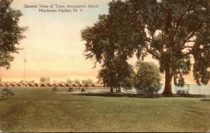 New York Henderson Harbor Association Island General View Of Tents Handcolore...