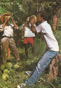 MARTINIQUE , 50-70s ; Drinking Coconut milk