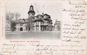 MILWAUKEE WISCONSIN~DEUTCHER DEUTSCHER GERMAN CLUB-POSTCARD 1904 PSMK