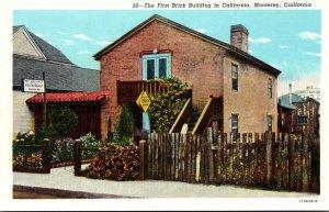 California Monterey The First Brick Building In California 1942 Curteich
