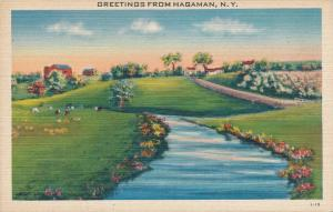 Farm View and Greetings from Hagaman - Montgomery County NY, New York - Linen