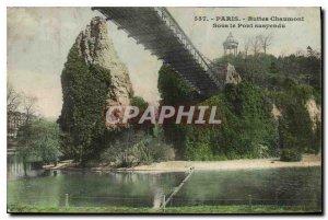 Postcard Old Paris Buttes Chaumont Under the Suspension Bridge