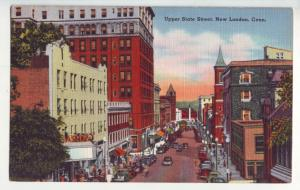 P1150 vintage unused postcard scene many old cars etc upper state street conn