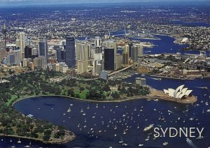 Aerial View Sydney Australia Opera House Skyline Harbor & Botanic Gardens 2001