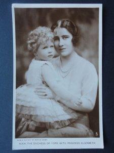 H.R.H THE DUTCHESS OF YORK with PRINCESS ELIZABETH c1930 RP Postcard by R. Tucks