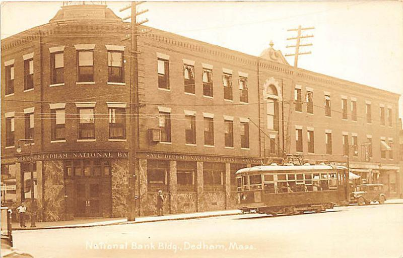 Dedham MA Trolley National Bank Old Car Herbert Glasier Publisher RPPC Postcard