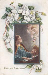 Easter Greeting, White roses frame Cherubs bringing flowers to Saint playing ...