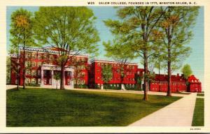 North Carolina Winston Salem View Of Salem College 1952 Curteich