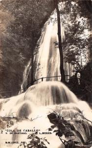 Villa de Santiago Nuevo León MX~Cola de Caballo Waterfall~Man on Platform~RPPC