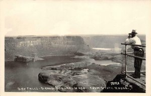 RPPC DRY FALLS Grand Coulee, WA From Vista House Libby Vintage Photo Postcard