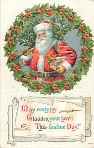 1909 Santa Christmas Embossed Divided Back Postcard